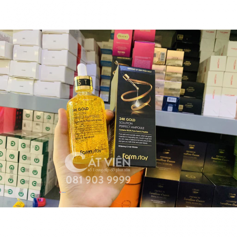 Serum vàng 24k gold solution perfect ampoule farmstay